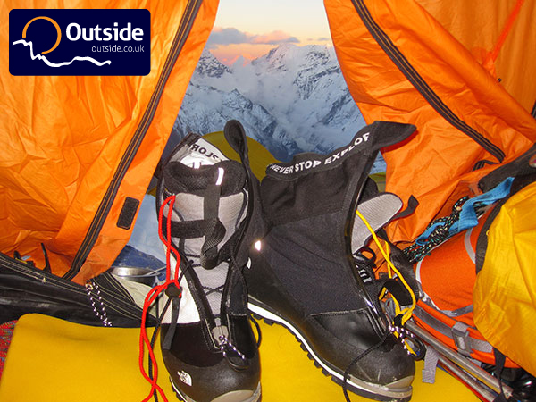 A pair of The North Face Verto S6K Extreme at 5800m, with Kangchenjunga in the distance - photo by Tom Richardson