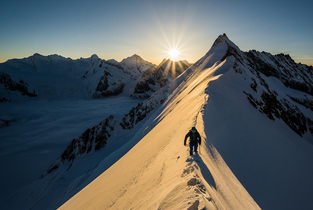 Stuart climbing from the Aletschjoch at sunrise, 201 kb