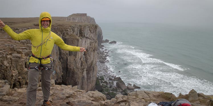 Rob Greenwood testing the Mountain Equipment Squall Hooded Jacket and Hope Pants on a grim day in Pembroke, 47 kb