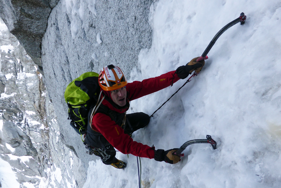 Jack Geldard climbing the North Couloir Direct on the Petit Dru, 228 kb
