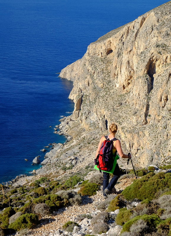 Day 2 of the Kalymnos Trail, heading towards the Pithari Bad Step, 180 kb