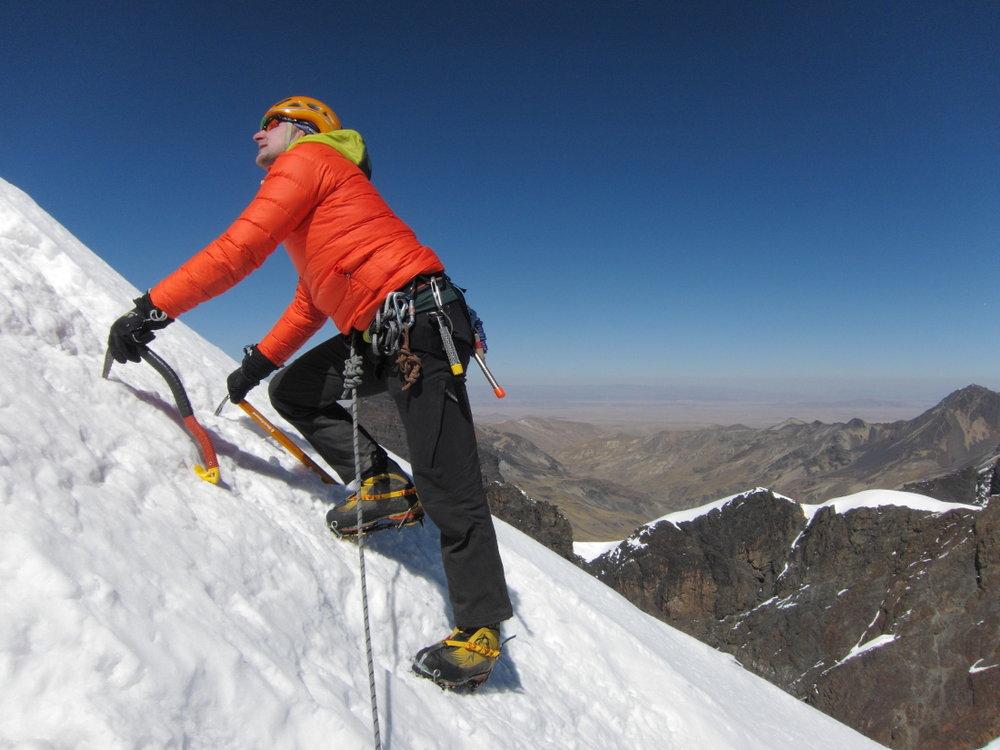 Moderately steep ground on Pequeno Alpamayo, 111 kb