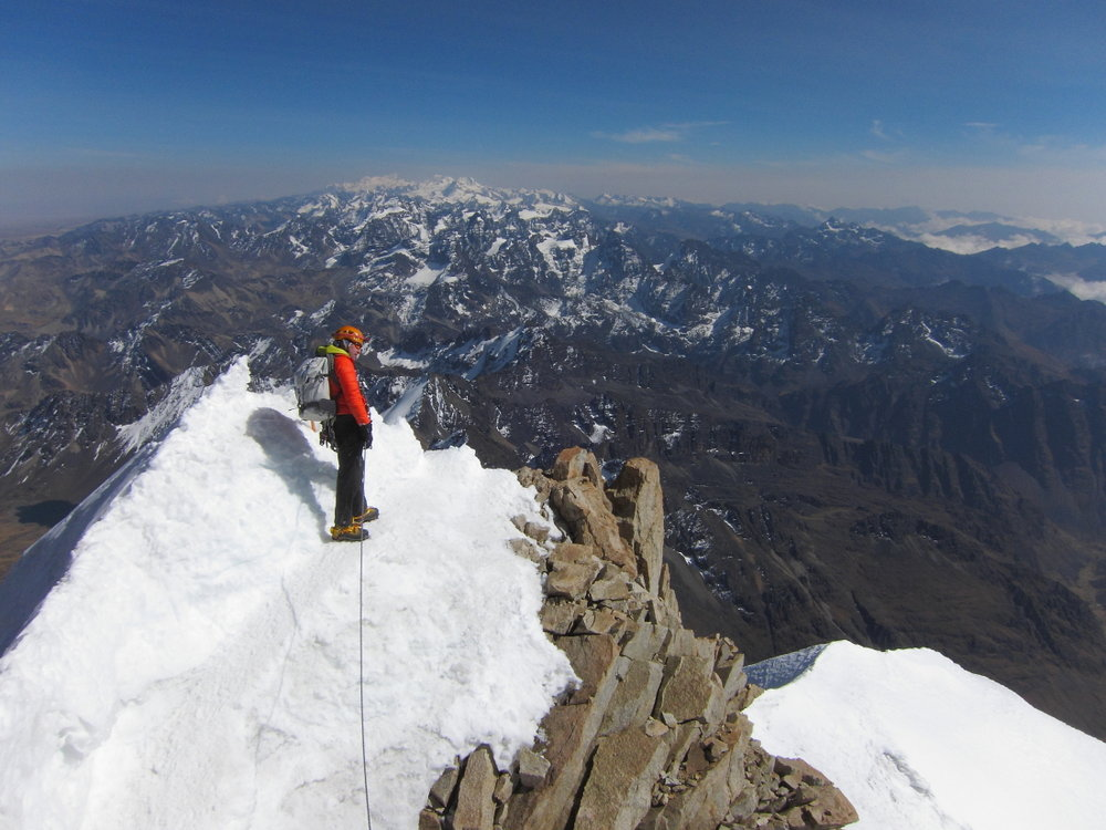 Easy but exposed on Huayna Potosi's summit ridge, 132 kb