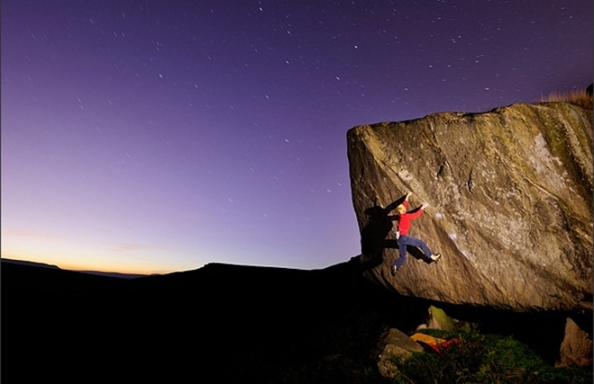 Ocun clothing in action on Not to be Taken Away - Stanage, 155 kb