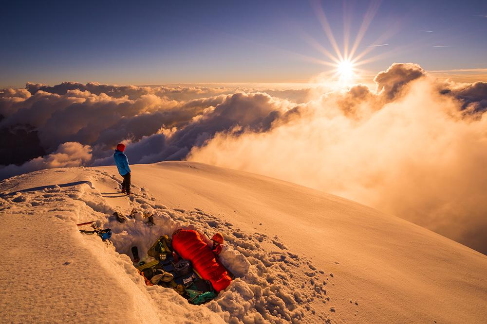 Laurent Soyris and Gabriel Mazur bivi on Verte summit after climbing the excellent Grand Montets ridge!, 235 kb