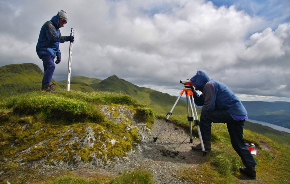 Using a level and staff to determine the high point of Creag na Caillich, formerly a Munro Top, 152 kb