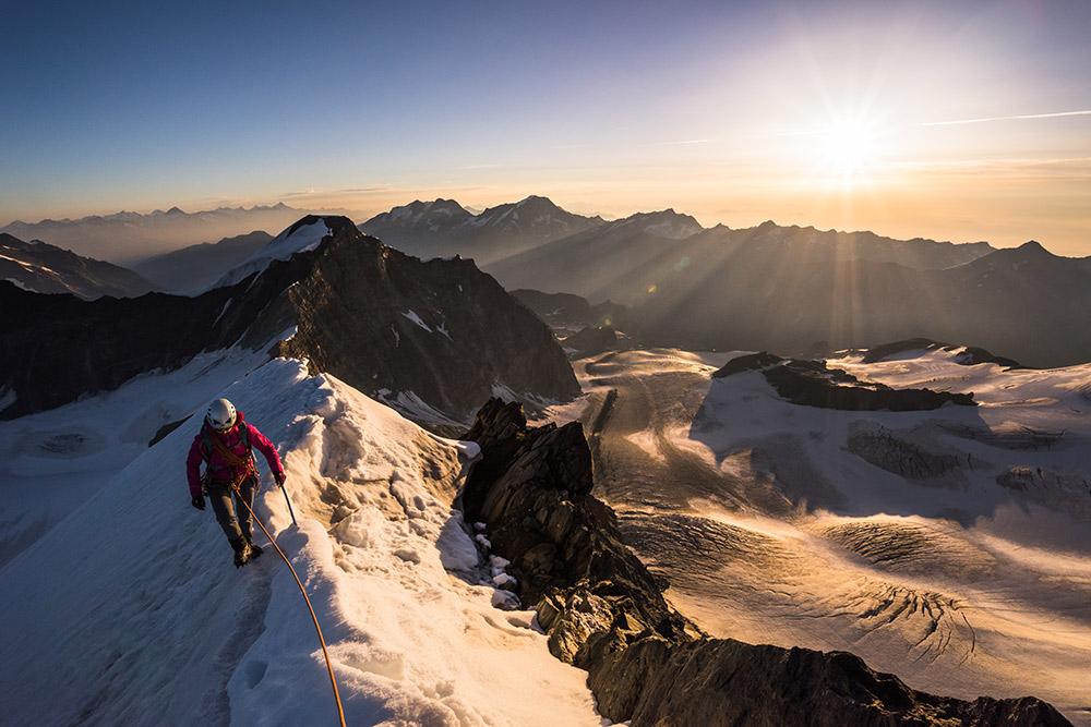 Valentine Fabre on the North Ridge of Rimpfischhorn, Switzerland, 176 kb