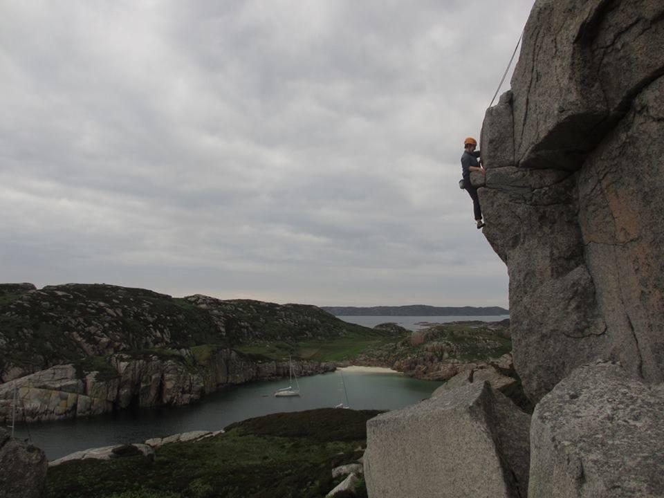 Mathew climbing at Erraid, Mull, 64 kb