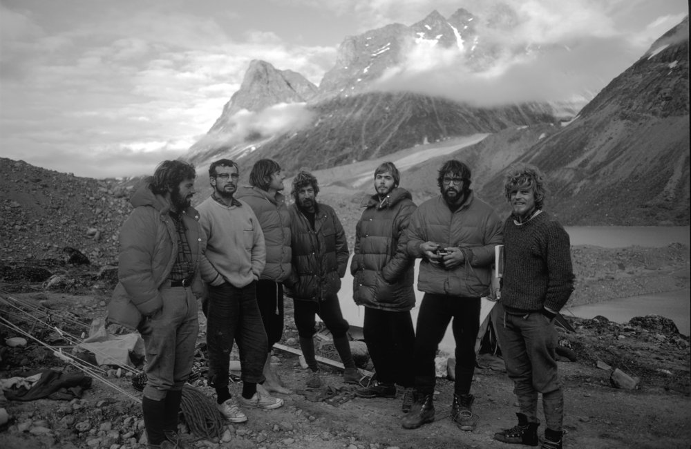 Baffin Island 1971 expedition team. L–R: Steve Smith, Ray Gillies, Dennis Hennek, Guy Lee, Phil Koch, Doug Scott and Rob Wood, 108 kb