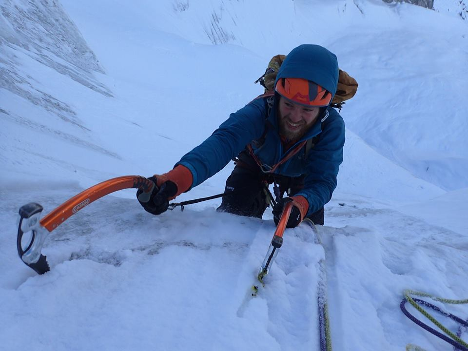Max following on the lower serac pitches, 65 kb