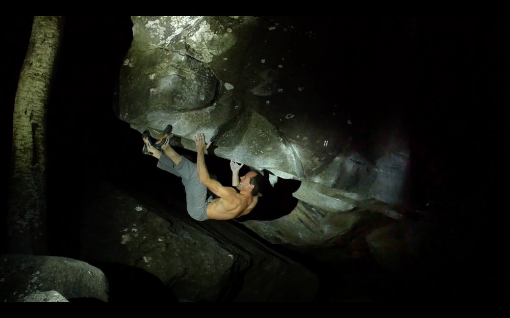 Dave MacLeod on Riverbed 8B, post ankle operation, 71 kb
