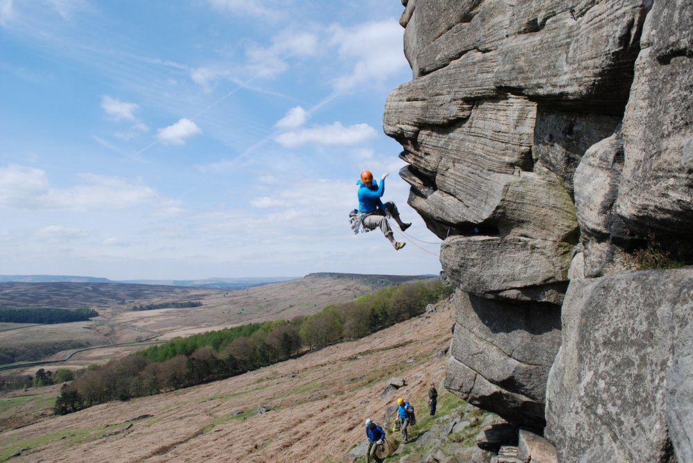 Getting spat off the crux of The Link, Stanage Popular., 183 kb