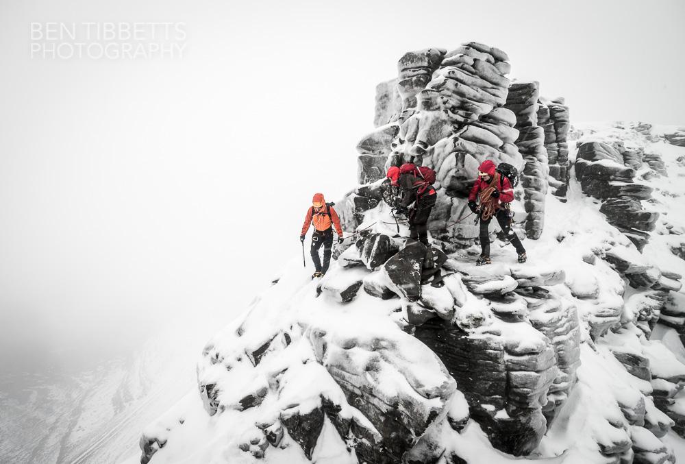 Martin Moran guiding Steve Ward and Gordon Speir on the Liathach Traverse, 30 Dec '13, 172 kb