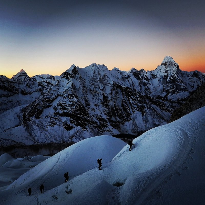 First light on Island Peak just above crampon point. , 128 kb