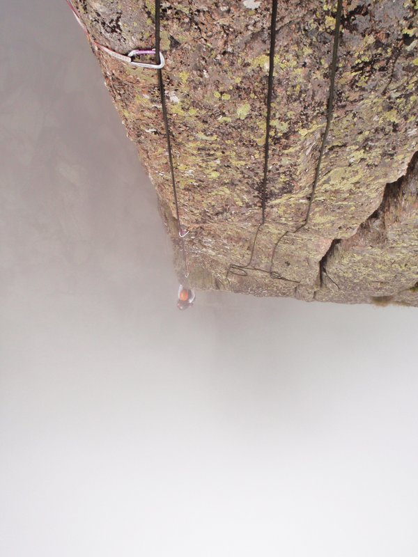 Final pitch of Cocher-Cochon (Chamonix) as a storm is rolling in. Climber Julia Lindberg, photographer Jon Wichett, 90 kb