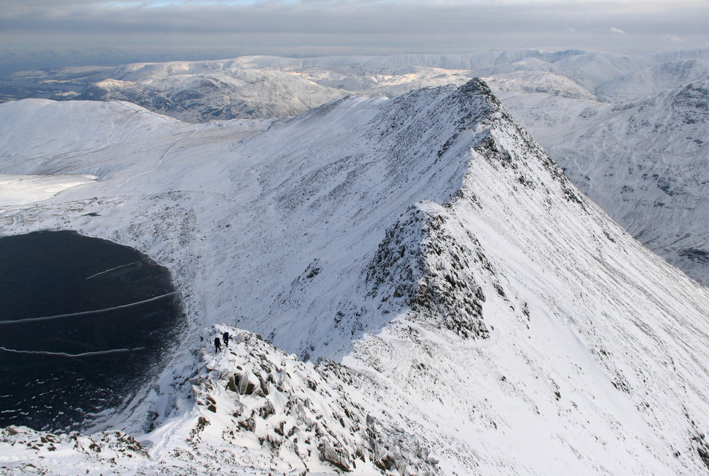 Looking back down Striding Edge from the exit slope onto Helvellyn, 174 kb
