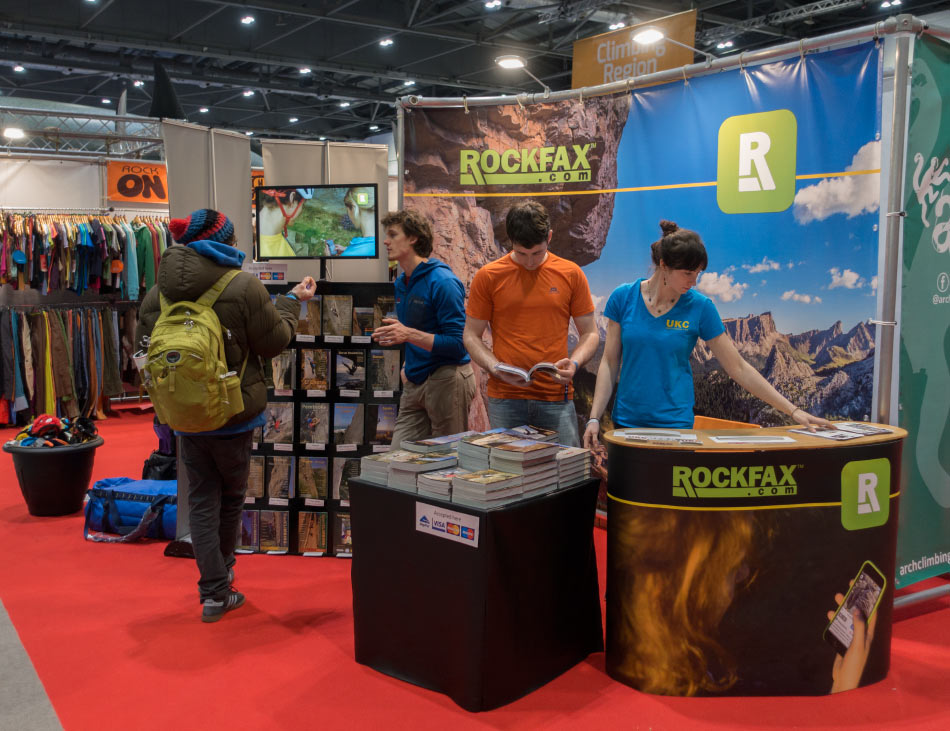 The Rockfax stand at the Telegraph Outdoor Show 2016, 148 kb