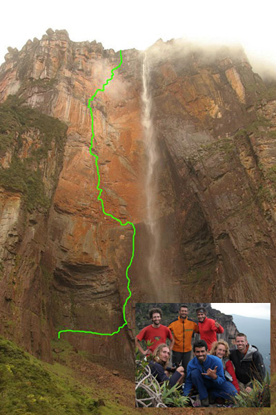 The route line of the first free ascent of the Angel Falls in Venezuela (and the team in the inset), 85 kb