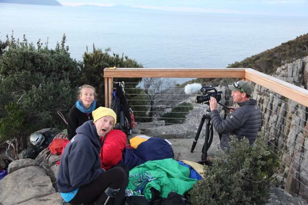 Pritchard, Melinda Oogjes and Matthew Newton on the edge of Cape Hauy., 141 kb