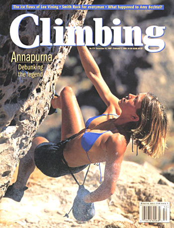 The celebrated and controversial cover of Climbing magazine featuring Rikki Ishoy., 54 kb