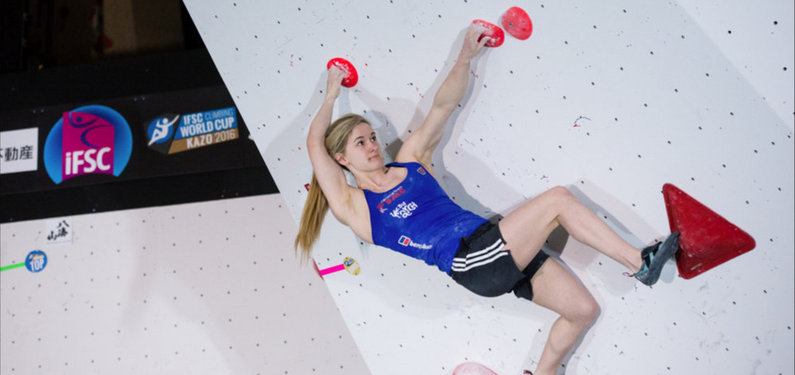 Shauna Coxsey on her way to another win in Kazo, 50 kb