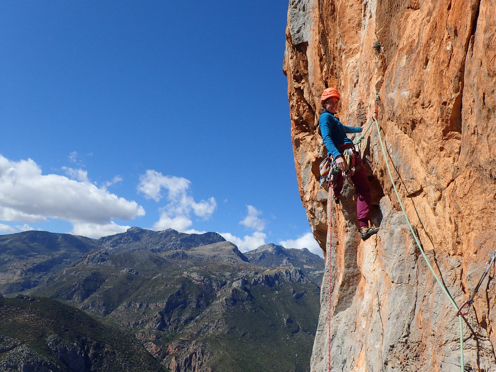 Bronwyn Hodgins leading off high on Taghazout 8a 300m., 216 kb
