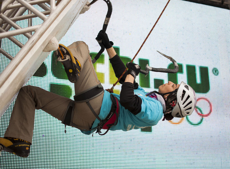 Zohreh demonstrating ice climbing at the Sochi Winter Olympics in 2014, 253 kb