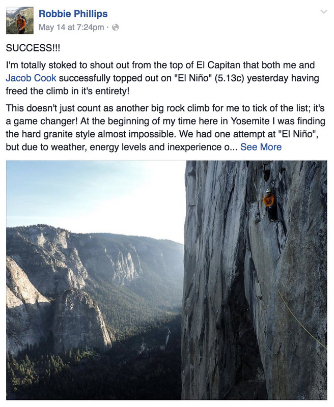 Robbie reports the ascent on his Facebook page, 123 kb