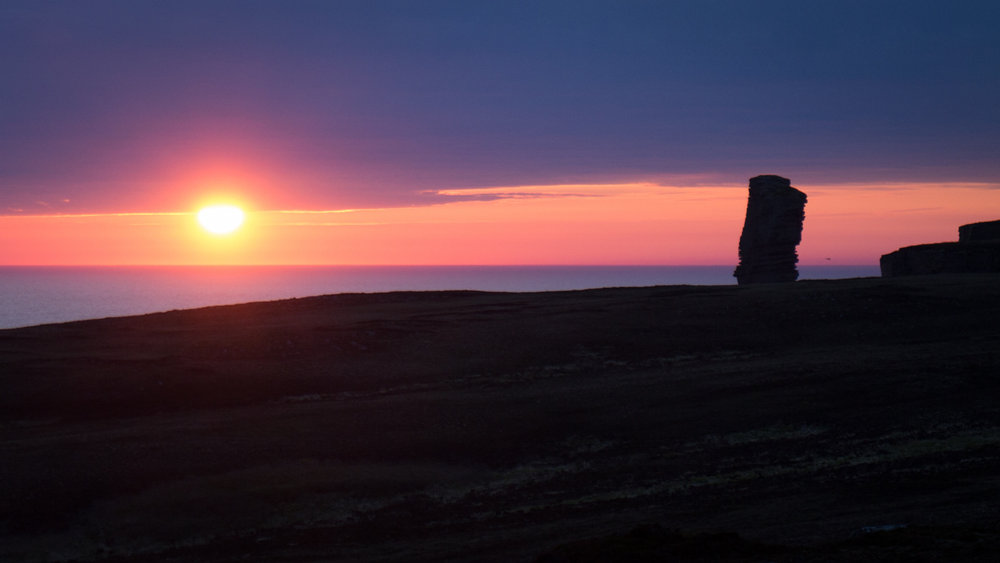 The sun setting over the Old Man of Hoy, 55 kb