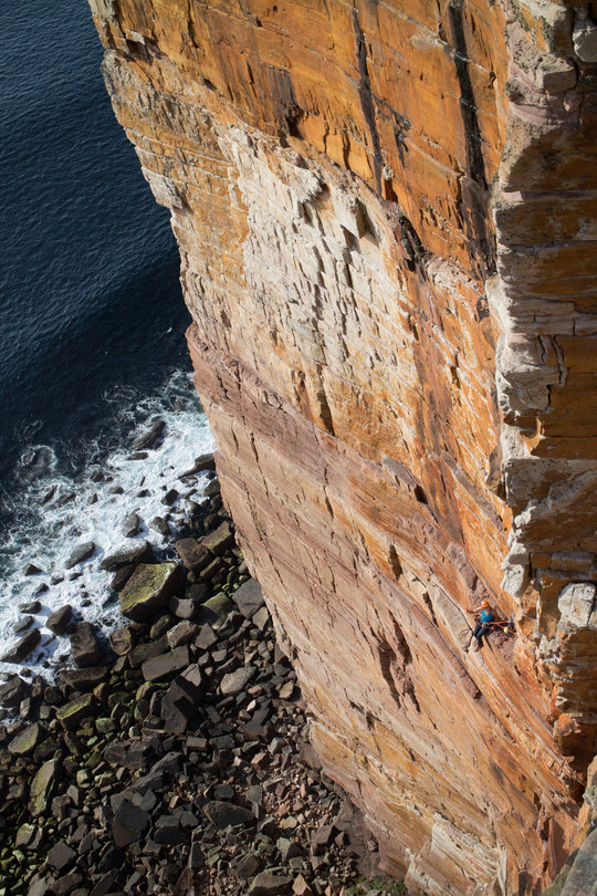 Nothing quite like a foreshortened view, three pitches up Mucklehouse Wall and one still to go!, 190 kb