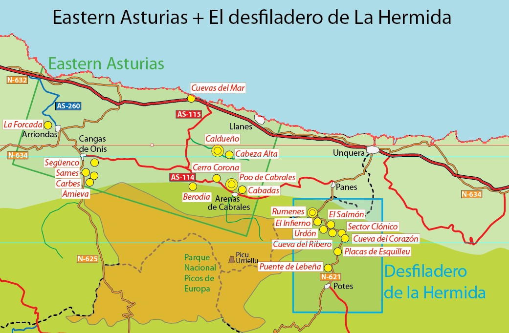 The compact eastern part of Asturias sees a lot of climbing squeezed in between the sea and the mountains., 151 kb