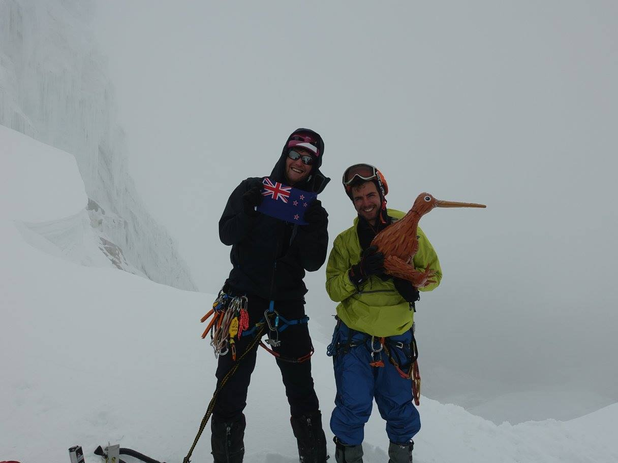 Pete, Jaz and an inflatable Kiwi celebrate a poor weather summit of Paron Sur (5500m), 55 kb