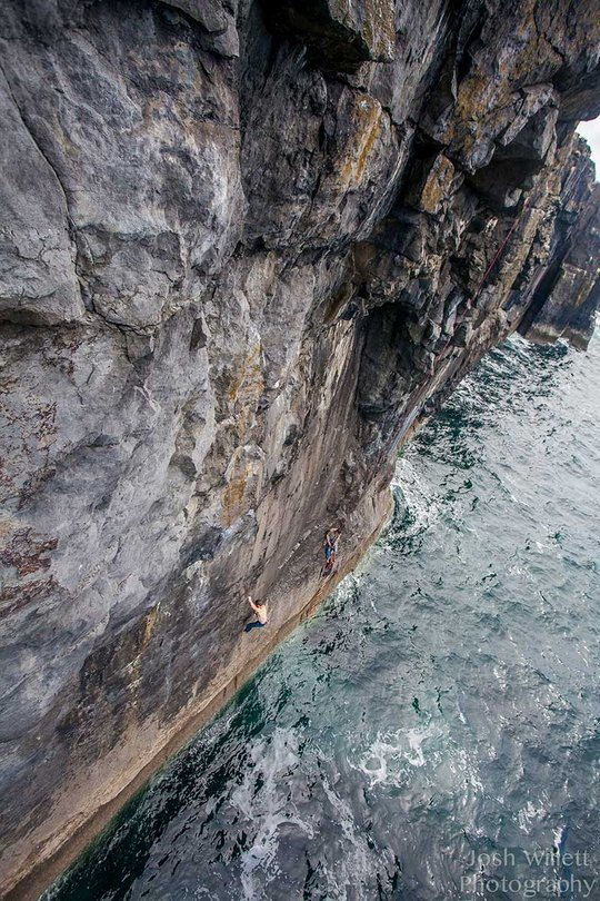 Colm Shannon making the first ascent of The Jelly Situation... gulp!, 158 kb