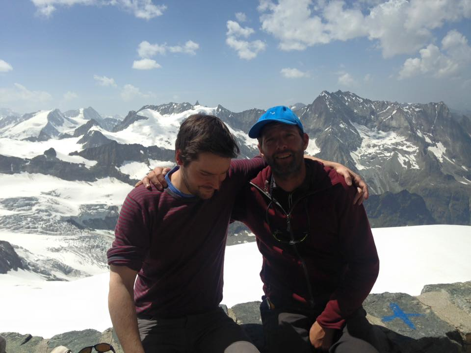 Dan and Jean-Noël Bovier, back at Rossier from the summit of Dent Blanche, June 2015, 62 kb