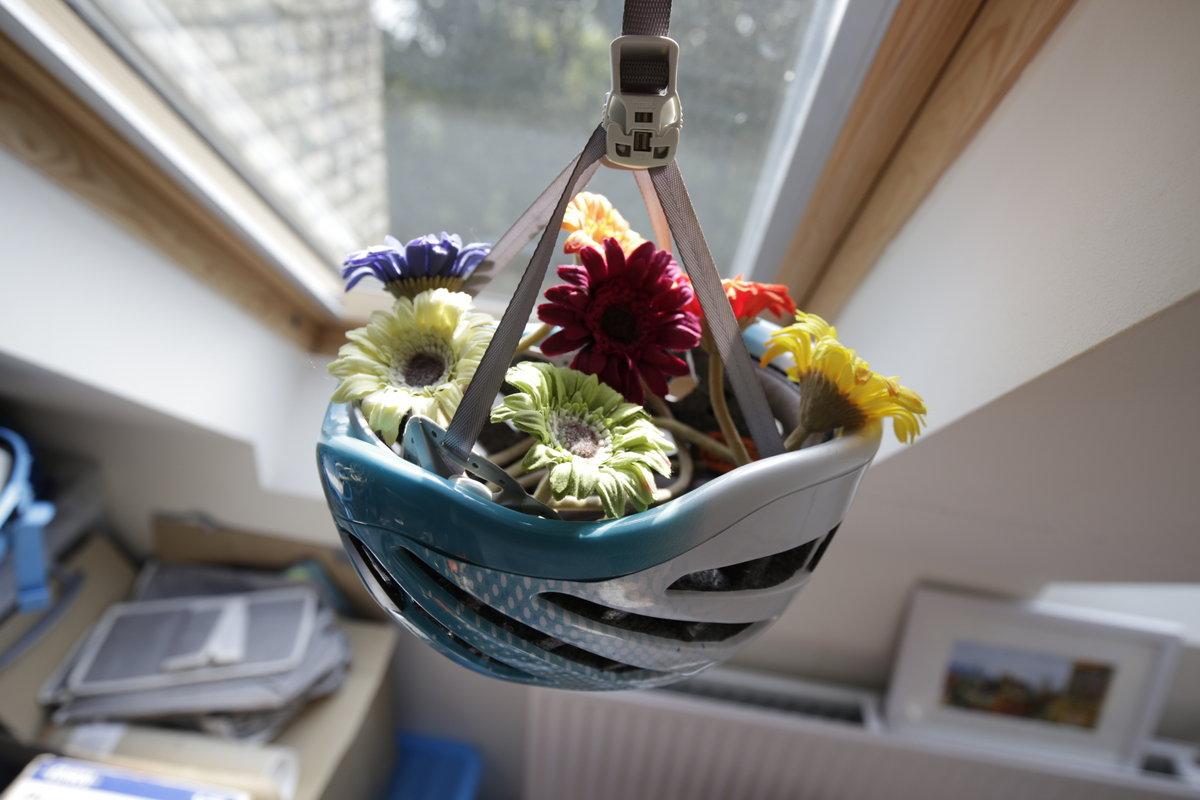 Hanging helmet flower basket, 130 kb