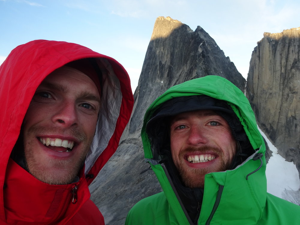 Duncan Barrack and Wil Treasure, happy with their first ascent, but lacking sleep and out of Jelly Babies., 112 kb