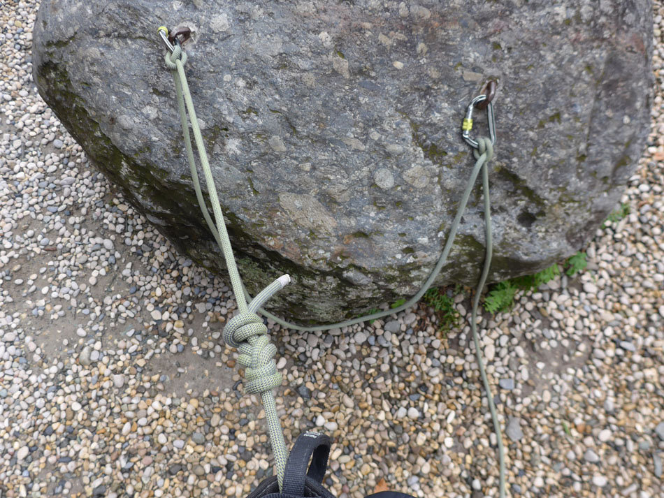 Single rope clove-hitched to second bolt (note slack loop between bolts), 248 kb