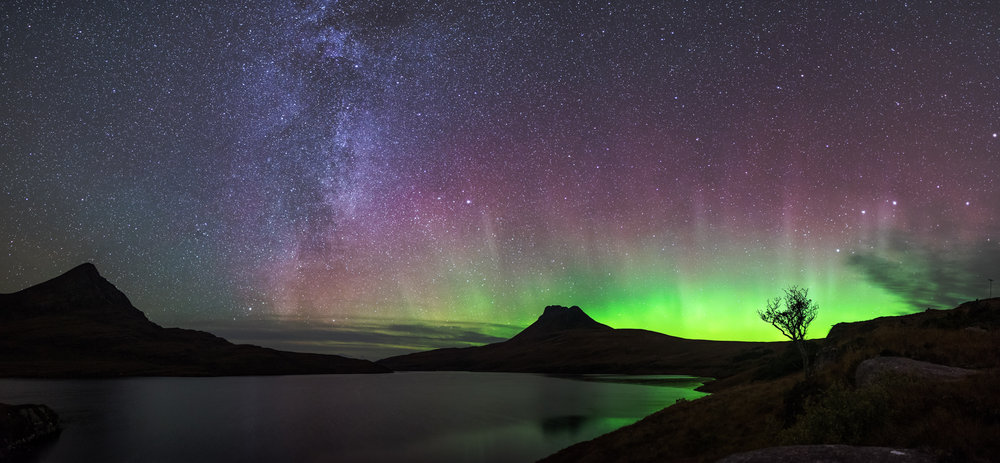 Aurora and Milky Way  over Assynt,Nw Scotland, 115 kb