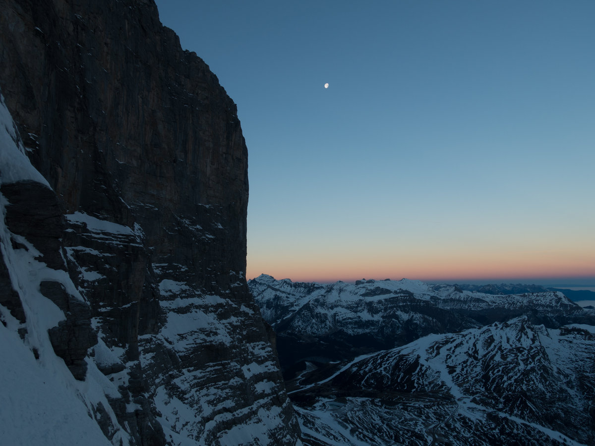 Evening light on the last pitches before the Eagle Bivvy, 187 kb