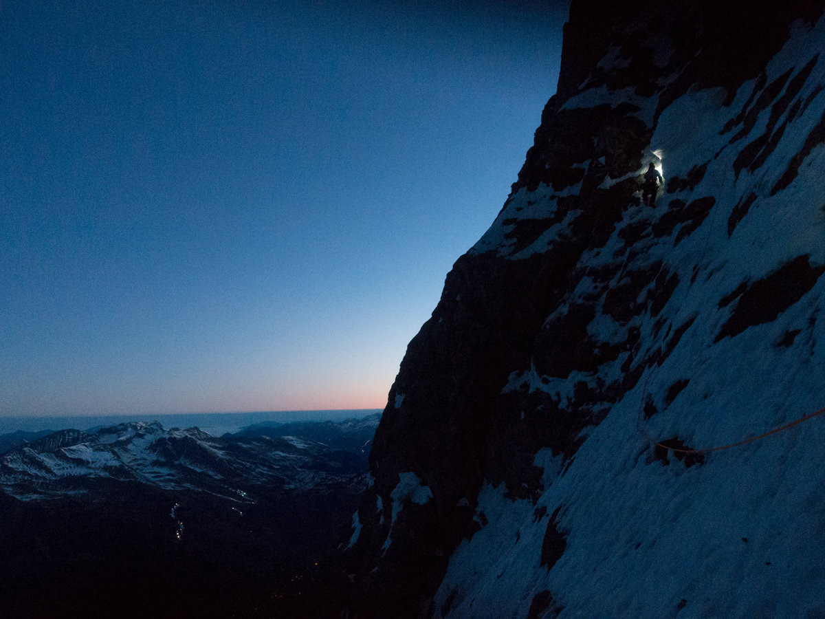 Early morning start on the lower part of the Eiger north face, 204 kb