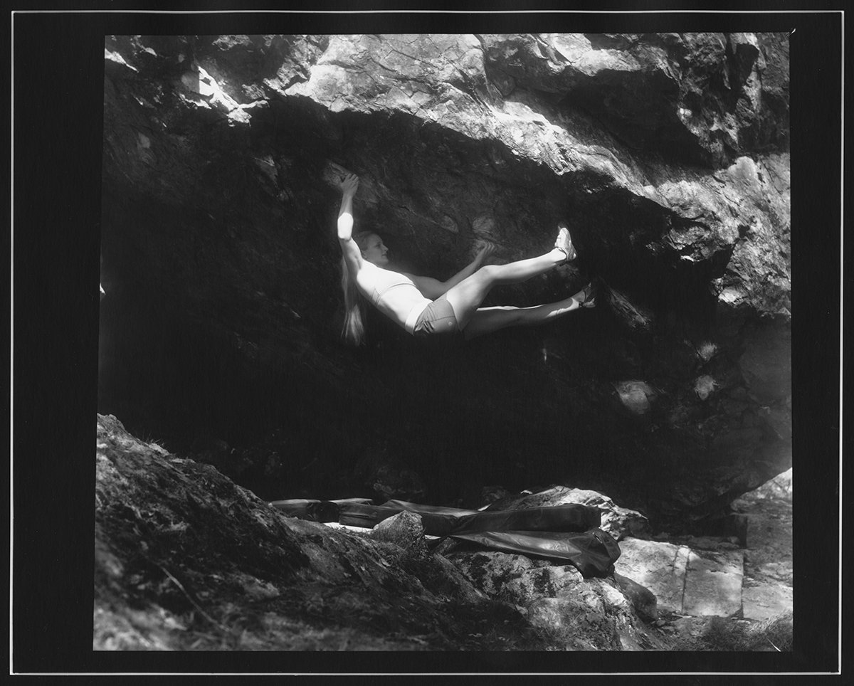 Leah Crane on 'Tourniquet' 8A on the Giant Stone, Little Font, Kentmere., 193 kb