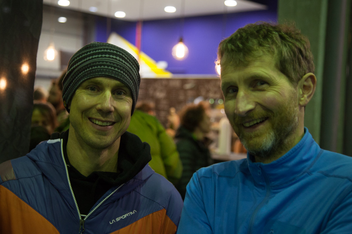 Petzl Athlete Neil Gresham and Petzl UK Brand Manager Martin Bergerud at the GRIGRI+ launch at Sharma Climbing in Barcelona, 150 kb