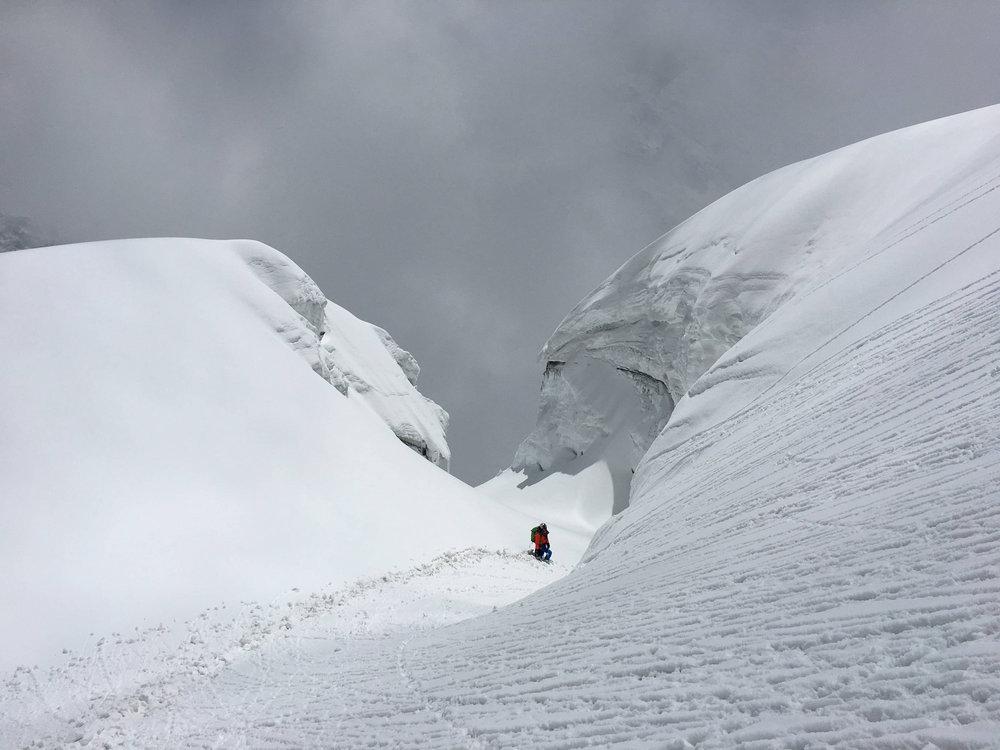 High up on Annapurna III ridge