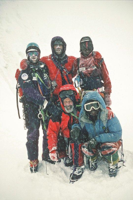 Summit team on Drangnag-ri 1995: Ralph Holibakk, Bjorn Myrer-lund, Pema Dorje, Chris Bonington & Lhakpa Gyalu, 98 kb