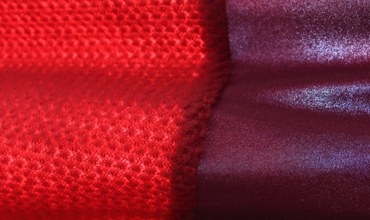 The knit is so open it's practically transparent. Left: Alpha Direct; Right: Thermic-lux stretch fleece, 211 kb