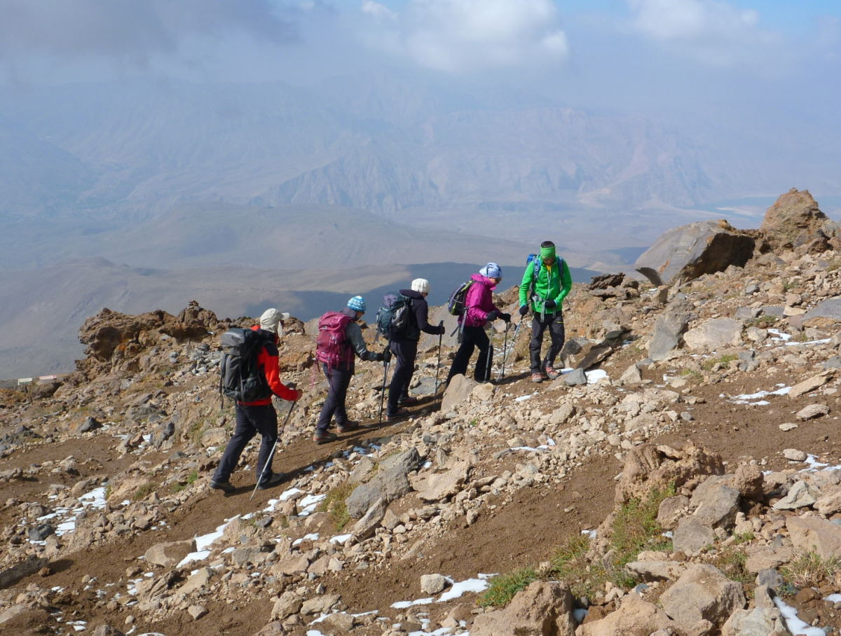 Team acclimatising above camp © UKC Articles