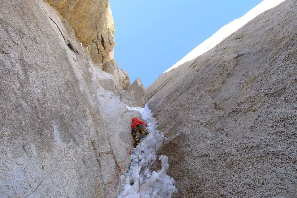 Greg on thin, slightly overhanging ice on day three of Beastiality., 107 kb