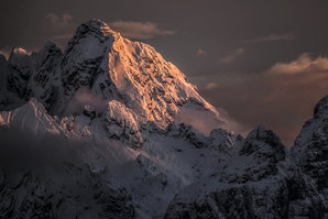 [Last light on the west face of Monte Antelao © James Rushforth]