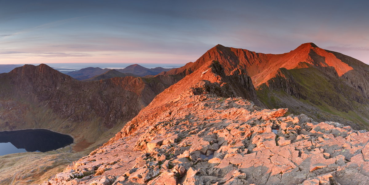 The Snowdon Horseshoe at sunrise from Crib Goch, 219 kb