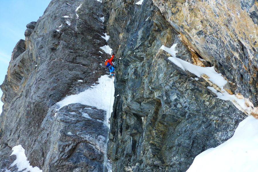 Peter Habeler on The Ramp, Heckmair Route, 149 kb